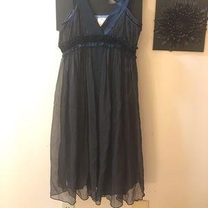 Silk navy evening dress with velvet detailing